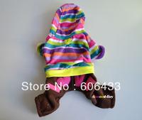 Pet Dog Puppy apparel cloth warm Coat trousers hat XXS XS S M L color stripe Brown Orange