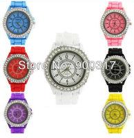 Free shipping Classic Gel Silicone Crystal Men Lady Jelly Watch Gifts Stylish Fashion Luxury 50pcs/lot