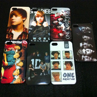 Stars!!! Bieber and Psy design hard plastic skin case cover for iphone 4/4s 50 pcs/lot DHL free shipping