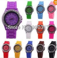 Free shipping Classic Gel Silicone Crystal Men Lady Jelly Watch Gifts Stylish Fashion Luxury 10pcs/lot