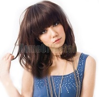 Brown Medium Length Curly Wigs Flat Bangs Wigs 60616