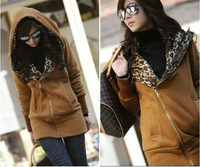 2012 Korea Leopard Fashion ladies Hoodies Coat /jacket/leisure women's clothing.Thickening and cashmere . Free shipping 2015