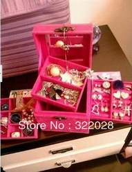 Free shipping hot sale new jewellery box case multideck excellent Storage Boxes & Bins gifts for girl(China (Mainland))