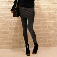 3550 autumn and winter slim wool cashmere faux two piece legging skirt