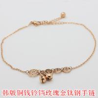 Color gold coins bell titanium 14k rose gold bracelet national trend vintage gift accessories female