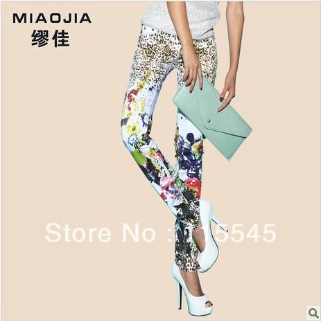 Flower Printed Jeans Jeans Shorts Women Flower