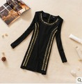 2012 winter brand women gold Rivet design fashion dresses , women dresses,black party dress