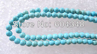 "Wholesale 16"" Howlite Turquoise Gem stone Round Loose Beads 8mm For Jewelry Making 200PCS Free Shipping Beads"
