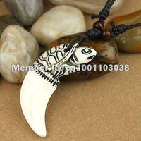 free shipping 20 pcs fashion jewelry turtle head yak bone pendant necklace