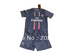 kids gift! 12/13 psg home blue thai quality kids soccer football jersey+shorts kits,size:16-28(China (Mainland))