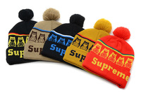 Supreme Hip Hop Beanies With Pom Men's Cotton Winter Cap Fashion Knitted Hat Wholesale Pom Pom Beanies High Quality