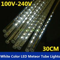 Wholesale New 30CM 144 LEDs White LED Meteor Shower Rain Tube Lights EU standard Outdoor Tree Decoration Free shipping