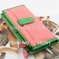 2014 new arrival women's color block women's long design zipper wallet multifunctional