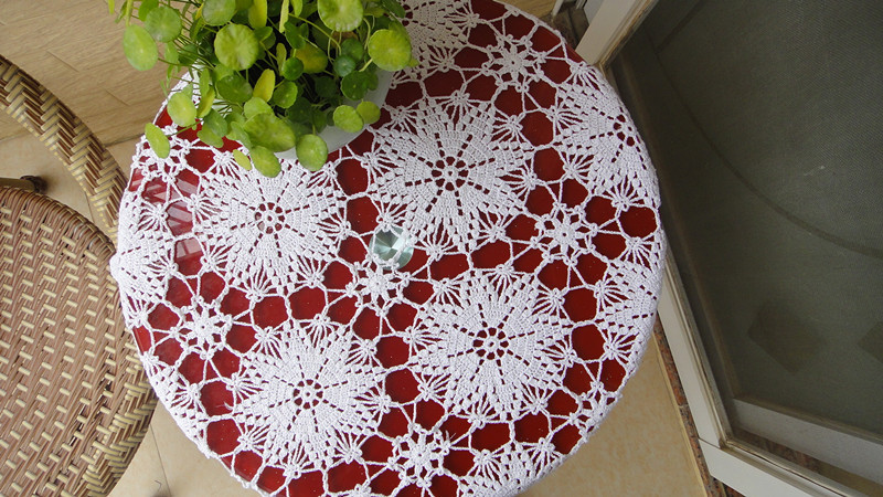 Hot sale100% cotton hand Crochet tablecloth 85x85cm decorative Table cover doily hand crochet sofa cover(China (Mainland))