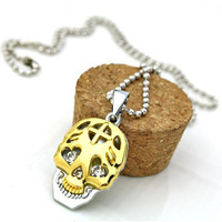 Personality  titanium stainless steel skull head necklace jewelry Free shipping Min order $10 Mix order+gift XL3064