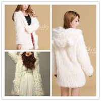 Free shipping women faux fur coat with hood cute ear hoodies
