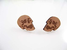 Good Wood earrings Goodwood NYC hip hop wooden skull head stud earring rock reggae hiphop jewelry accessories FT1211-73(China (Mainland))