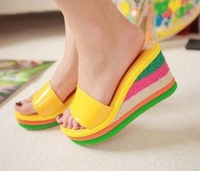 Free shipping High quality wedge heel dress shoes,Dalo 2012 sweet candy high heel sandals color block decoration wedges slippers