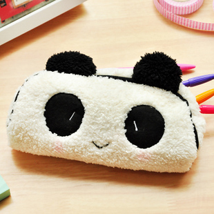 free shipping Korea stationery three-dimensional cut cartoon panda pencil case multifunctional plush pencil case cosmetic bag