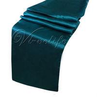 "Free shipping Teal Blue Satin Table Runner 12"" x 108"" Wedding Dec"