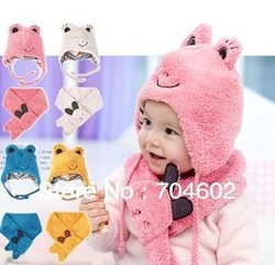 Autumn winter children's hat scarf set frog Modeling baby hats velvet ear muff cap 5sets/lot Free Shipping H0275(China (Mainland))