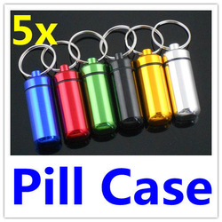 Travel WaterProof Aluminum Pill Box Case holder Bottle Container 6 colors with Key Ring 5pcs(China (Mainland))