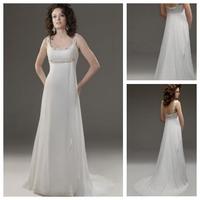 Simple Glamorous & Dramatic Mid Back Outdoor Sleeveless Pleated Bodice Chiffon Simple Wedding Dress Petite