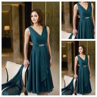 Custom Made Top Quality Sleeveless Chiffon Beaded Vneck Pleated Bodice Tea Length Evening Dress
