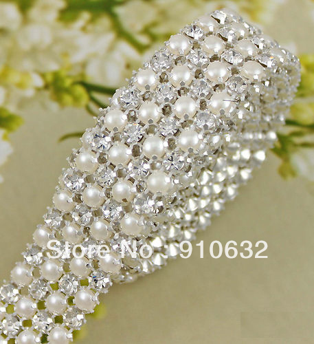 1 Yard Diamond 4 Rows 5mm A Grade Rhinestone Crystal &amp; Pearl Wedding Cake Banding Trim Cake Ribbon Decoration(China (Mainland))