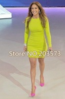 Free shipping 2013 New lemon yellow   long sleeve bandage dress fashion dress evening dress cocktail/prom dress   HL496