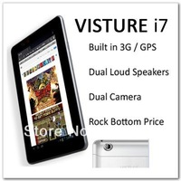 VISTURE 7 inches i7 Tablet, Built in 3G GPS Bluetooth WiFi Support phone call,MTK 6575 1.2GHz @ A9 HD Display,