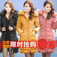 FREE SHIPPING! Retail and Wholesale! 2014 fashion lace decoration down coat female medium-long slim women's Down jackets