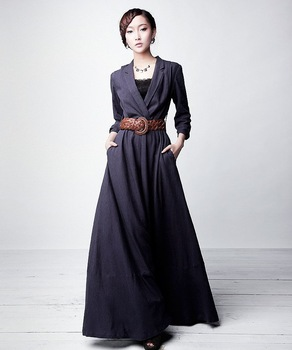 D124 S-4XL Free shipping 2012 new high quality women's new long linen dress maxi dress