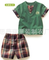 Free shipping china post ! 5sets/lot Wholesale 2012 Baby Summer suit Baby clothes baby wear in stock,new monster32