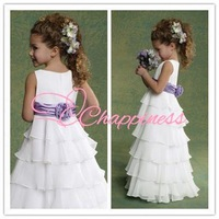 Free Shipping Chiffon Flower Girl Dresses A Line Floor Length Girl Dress