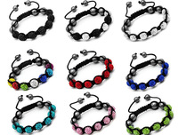 colorful 10mm clay rhinestone bead shamballa bracelet