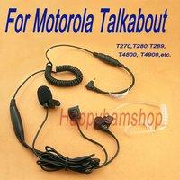 Minidin clear tube Headset with finger PTT mic for walkie talkie Motorola Talkabout T270 T280 T289