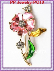 GOLDPLATED COLORFUL LEAF BROOCHES HOT SALE!! free shipping jewelry(China (Mainland))