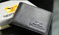 SEPTWOLVES genuine leather short design cowhide man's wallet commercial purse fashional black color
