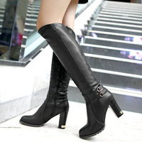 big size  new arrive drop wholesale fashion Buckle Strap Rubber PU knee-high boots for women  OD-806
