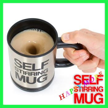 Free Shipping Creative Electric Stainless steel Magic Self Stirring coffee mug 350ML