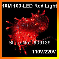 Free shipping!!! AC110V/220V US/EU plug 10m 100 LED Red Christma String Light