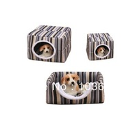 Dual-use fashion stripes house, foldable cotton nest, dog house, winter warm type dog kennel, cats nest  Free Shipping