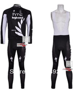 Free Shipping!! New Winter thermal fleece cycling jersey+BIB pants bike sets clothing for 2013 HTC-highroad team