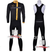 Free Shipping!! New Winter thermal fleece cycling jersey+BIB pants bike sets clothing for 2013  liverstrong  team