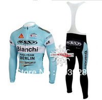 Free Shipping!! New Winter thermal fleece cycling jersey+BIB pants bike sets clothing for 2013 Bianchi  team