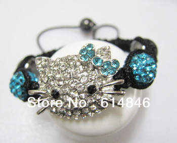 Factory Price DIY Handmade Colourful Crystal Beads Woven Rope Hello Kitty Shamballa Bracelets Bangles Fashion Jewelry For Kids