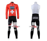 Free Shipping!! New Winter thermal fleece cycling jersey+BIB pants bike sets clothing for 2013 Saxo Bank  team