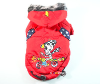 Cute Pet Dog Puppy apparel cloth Clothing Winter warm Coat Red Skull pattern