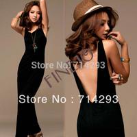 Fashion Black Sexy Women's Backless Long Dress Sleeveless Casual M/L/XL Free shipping 7939